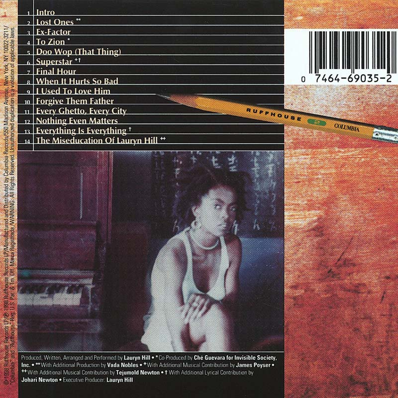 The Miseducation of Lauryn Hill back cover